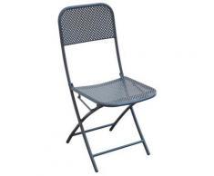 Chaise pliante en métal perforé Coloris gris anthracite - A USAGE PROFESSIONNEL - PEGANE - - Mobilier de Jardin