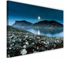 Image décorative Tableau Toile Cadre mural Canevas Coucher de soleil Lac Montagnes 3 120x80 - Décoration murale