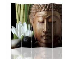 Feeby Décoration Paravent d'intérieur sur toile, 5 panneaux deux faces, Bouddha Fleur Lotus 180x180 cm - Objet à poser