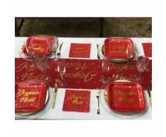 Chemin de table rouge joyeux noël - 28 cm x 3 mètres - Objet à poser