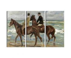 Max Liebermann Poster Reproduction Sur Toile, Tendue Sur Châssis - Deux Cavaliers Sur La Plage, 1901, 3 Parties (120x180 cm) - Décoration murale