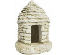 Godinho - Maisonnette avec ouverture en pierre blanche reconstituée 15 x 15 x 21 cm - Décoration d'extérieur