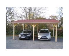 Habrita - Carport Double Monopente Avec Couverture Bardeau Bitumé - Mobilier de Jardin