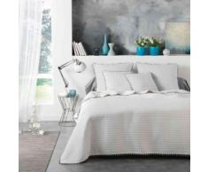 Couvre-lit Dorina blanc à pompons 260x240 cm - Equipement du lit