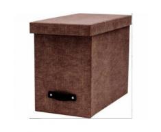 Boite archives 8 dossiers suspendus Johan canvas toilée et poignée cuir brun - 9441/C64 - Carton - 26.5 cm - Gris - 35x18.5 cm - Boîte de classement