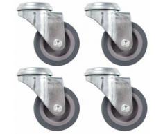 vidaXL 8x Roulettes Pivotantes à Trou de Boulon Fixes Roues Fixes pour Etabli Meuble Chariot Roulant Etagère à Livre Tables de Travail Capacité de 45 kg 75 mm - Accessoires pour meubles