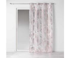 Voilage oeillets 140 x 240 cm voile imprime metallise veggy Rose/or Rose - Rideaux et stores