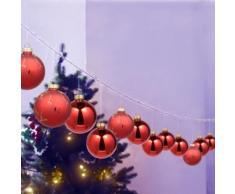 Verre Rouge boules en verre peint à la main pour cadeau de Noël 12 boules suspendues parfait pour la décoration de sapin de Noël - Objet à poser