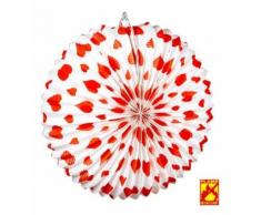 Lampion blanc curs rouge 36 cm - Article de fête