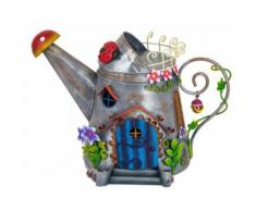 Fountasia - Maisonnette arrosoir en métal Fairy kingdom - Décoration d'extérieur