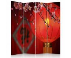 Feeby Paravent imprimé Séparateur de pièce 2 faces 4 panneaux, Lampion japonais 145x180 cm - Objet à poser