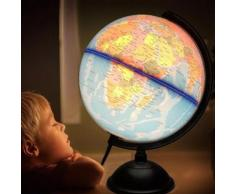 TEMPSA 17CM LED Globe Terrestre Océan Carte Monde en Englais Pour Enfant étude Jeu Cadeau No?l - Jeu découverte