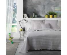 Pack couvre lit matelas. 220x240 +2 h cous.45x45 microfibre+pompons dorina Gris - Equipement du lit