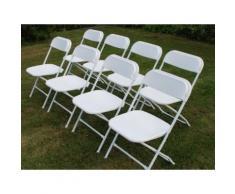 Chaise pliante 44x44x80cm, Blanc, 8 pièces - Mobilier de Jardin