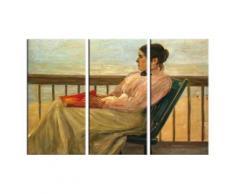 Max Liebermann Poster Reproduction Sur Toile, Tendue Sur Châssis - Martha Liebermann, La Femme De l'Artiste À La Plage, 1895, 3 Parties (80x120 cm) - Décoration murale