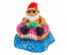 Nain de jardin sur sa bouée en forme de donut Gnome drole marrant - Décoration d'extérieur