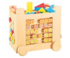 Grand chariot multi activite sur roulettes en bois 39 x 35 x 27 cm (lxlxh) - cube de marche - jouet bebe - Autres