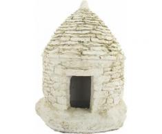 Godinho - Maisonnette avec ouverture en pierre blanche reconstituée 23 x 23 x 30 cm - Décoration d'extérieur