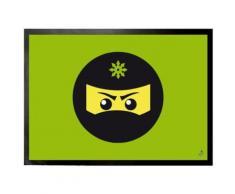 Gaming Paillasson Essuie-Pieds - Icône Ninja, Vert (50x70 cm) - Tapis et paillasson