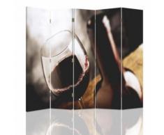 Feeby Décoration Paravent d'intérieur sur toile, 5 panneaux deux faces, Verre de vin rouge 180x180 cm - Objet à poser