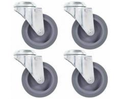 vidaXL 8x Roulettes Pivotantes à Trou de Boulon Roues Fixes pour Etabli Meuble Chariot Roulant Etagère à Livre Capacité de 60 kg 100 mm - Accessoires pour meubles