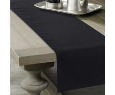 Chemin de table solide en lin noir 35 x 305 cm - Autres