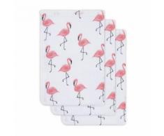 Lot de 3 gants de toilette hydrophiles 20x15cm Tropical Flamingo - Rose - Gants - Sorties de bain - Serviettes
