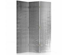 Feeby Paravent imprimé décoratif moderne, 3 pans, double face, Imitation métal 110x180 cm - Objet à poser