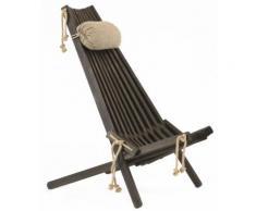 Ecofurn - Chilienne en bois EcoChair (coussin offert) Pin Noir - Mobilier de Jardin