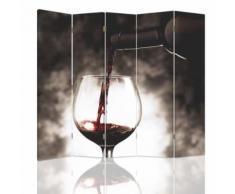 Feeby Diviseur de pièce Paravent déco intérieur, 5 pans deux faces, Verre de vin 180x150 cm - Objet à poser