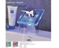 Robinet salle de bain cascade avec mitigeur d'eau chaude et froide, Robinet avec bec verseur LED en verre et finition en chrome - Robinetterie