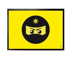 Gaming Paillasson Essuie-Pieds - Icône Ninja, Jaune (50x70 cm) - Tapis et paillasson