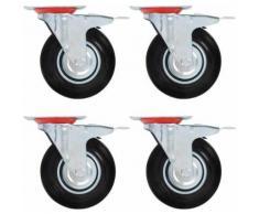 vidaXL 4x Roulettes Pivotantes avec Double Frein Roulette de Mobilier Roulette de Meuble Chariot Roulant Etagère à Livre Bibliothèque Panier d'Achat Capacité 180 kg 160 mm - Accessoires pour meubles