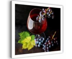 Image murale imprimée Tableau Toile moderne Canevas Verre de vin Raisins 60x60 - Décoration murale
