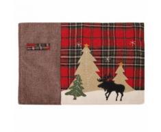 Noël Décoration Thème Noël Plaid Tree Elk Motif Isolation thermique Fourche Napperon Table Tapis Décoration - Objet à poser