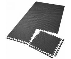 TECTAKE Tapis de Sol de Gym Sport avec 8 Dalles de Protection en Mousse 61 cm x 61 cm Noir - Gymnastique