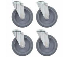 vidaXL 16x Roulettes Pivotantes à Trou de Boulon Roues Fixes pour Meuble Etabli Chariot Roulant Etagère à Livre Capacité de 35 kg 50 mm - Accessoires pour meubles