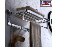 Gant de toilette pour étagère à serviettes à double étage en alliage d'aluminium - Rangement de l'atelier