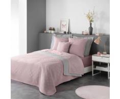 Couvre-lit 2 personnes matelassé 220x240 bicolore Cottage rose gris - Couvertures - Edredons - Couettes