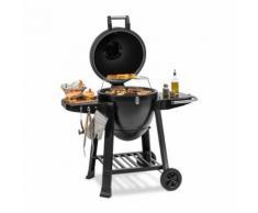 Klarstein Duomo Barbecue Kamado Grill Fumoir avec dôme en céramique 21 - thermomètre intégré - inox - noir - Cuisiner en extérieur