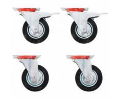 vidaXL Roulettes 4 pcs Roulette de Mobilier Chariot Roulant Etagère à Livre Roulette de Meuble Bibliothèque Panier d'Achat Capacité 180 kg 200 mm - Accessoires pour meubles