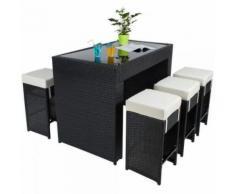 Table haute salon de jardin rotin résine tressé synthétique + 6 tabourets rotin noir - Mobilier de Jardin