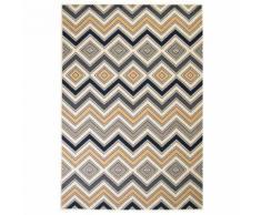 vidaXL Tapis moderne Design de zigzag 80 x 150 cm Marron/Noir/Bleu - Tapis et paillasson