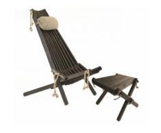 Ecofurn - Chilienne scandinave avec repose-pieds Pin Noir - Mobilier de Jardin