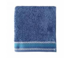 SANTENS Serviette de toilette 100 % Coton Orka - 50 x 100 cm - Bleu foncé - Linge de bain