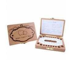 Enfants Garçon et fille Tooth Boîte de rangement en bois Organisateur bébé Save Milk Teeth Collectionner Kiliaadk604 - Boite de rangement