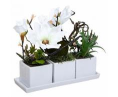 Composition Florale & Plateau Magnolia 30cm Blanc - Plantes artificielles