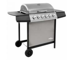 vidaXL Barbecue gril à gaz avec 6 brûleurs Noir et argenté - Cuisiner en extérieur