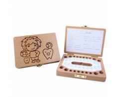 Enfants Garçon et fille Tooth Boîte de rangement en bois Organisateur bébé Save Milk Teeth Collectionner Kiliaadk602 - Boite de rangement