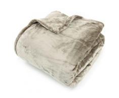 Couverture polaire 220x240 cm Microfibre 100% Polyester 320 g/m2 VELVET Marron Taupe - Linge de lit